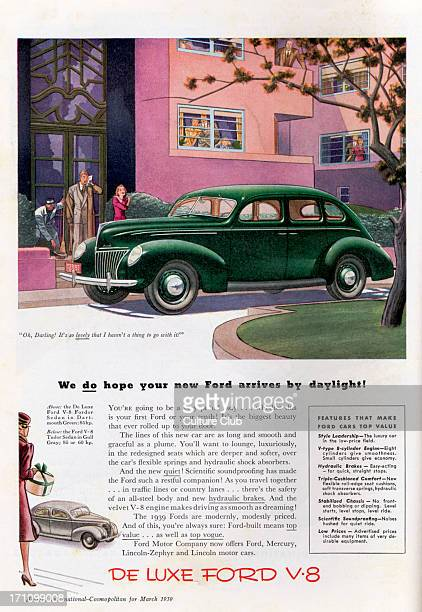 Ford Motor Company - advertisement for the Ford V-8 Sedan. A couple look at the car as the woman says 'Oh, Darling! It's so lovely that I haven't a...