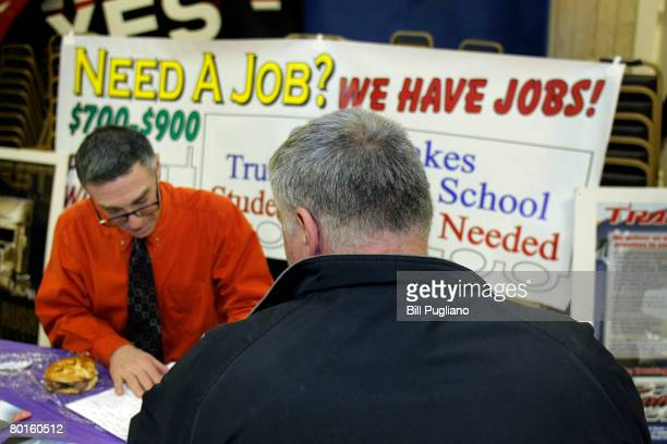 Ford Motor Company employee attends a jobs fair at United Auto Workers Union Local 600 March 7, 2008 in Dearborn, Michigan. The fair was to assist...