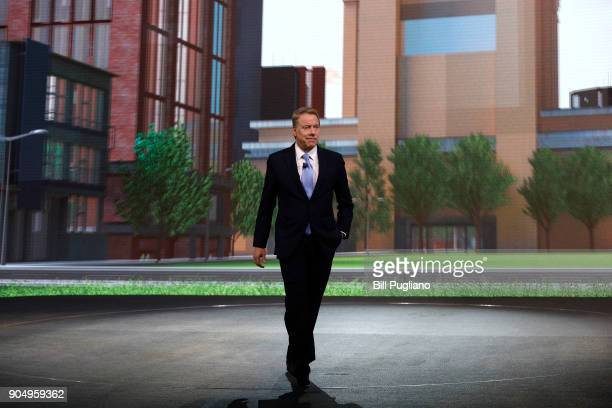 Ford Motor Company Executive Chairman Bill Ford speaks at the debut of Ford vehicles the 2019 Ford Ranger truck 2019 Ford Edge ST and Mustang Bullitt...