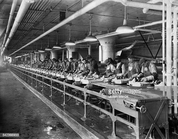 Ford Motor Company in Detroit production of radiators on the assembly line 1920s