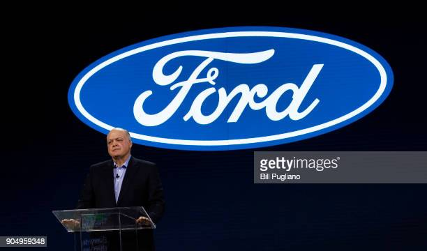 Ford Motor Company President and CEO James Hackett speaks at the debut of Ford vehicles the 2019 Ford Ranger truck 2019 Ford Edge ST and Mustang...