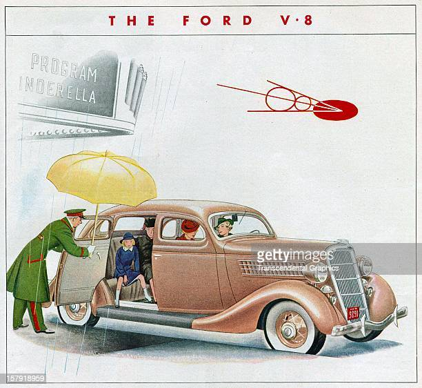 Ford Motor Company promotion features a V8 symbol circa 1930 from Detroit, Michigan.