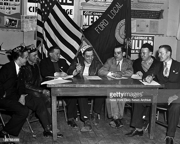 Ford Motor Company Strike, cause of the strike. Ford strike was precipitated by firing of eight men. Here are seven of the eight in conference at...