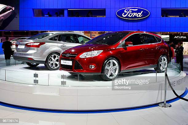 Ford Motor Co's redesigned 2011 Focus compact sits on display during day two of the 2010 North American International Auto Show in Detroit Michigan...