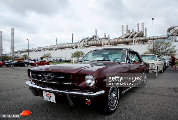 Ford Motor Mustang lines up during a celebration of the production of the 10 millionth vehicle at the Flat Rock Assembly on August 8 2018 in Flat...