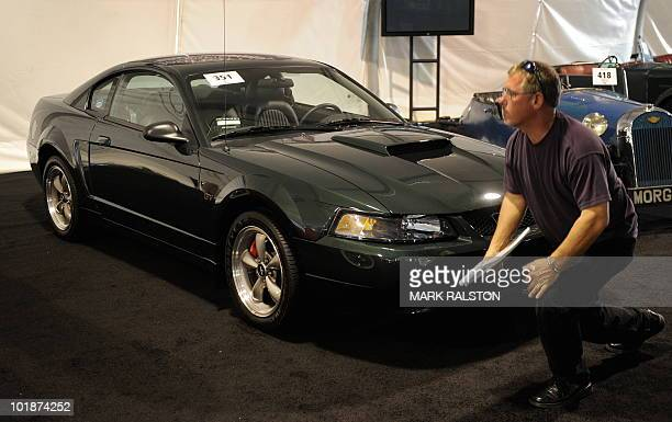 Ford Mustang Bullitt Edition with the serial No 01 that belonged to Chad McQueen who is the son of actor Steve McQueen and is on display at the...