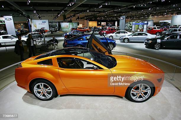 Ford Mustang concept car by Guigiaro is displayed during a media day preview at the 100th annual Los Angeles Auto Show in the Los Angeles Convention...
