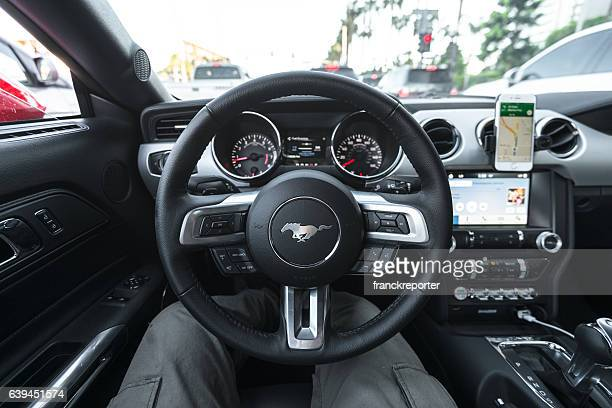 Ford mustang dashboard in the traffic