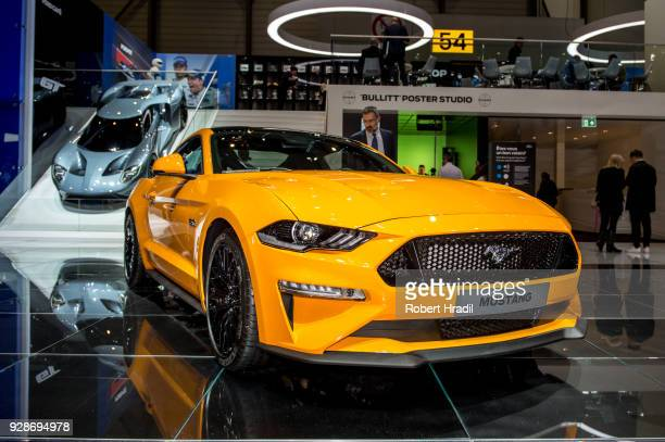 Ford Mustang is displayed at the 88th Geneva International Motor Show on March 7 2018 in Geneva Switzerland Global automakers are converging on the...