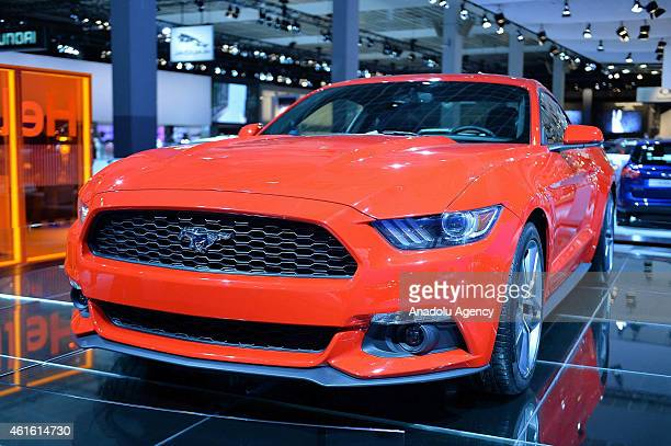 Ford Mustang is on display during the 93rd European Motor Show at Brussels Expo on January 15 2015 in Brussels Belgium