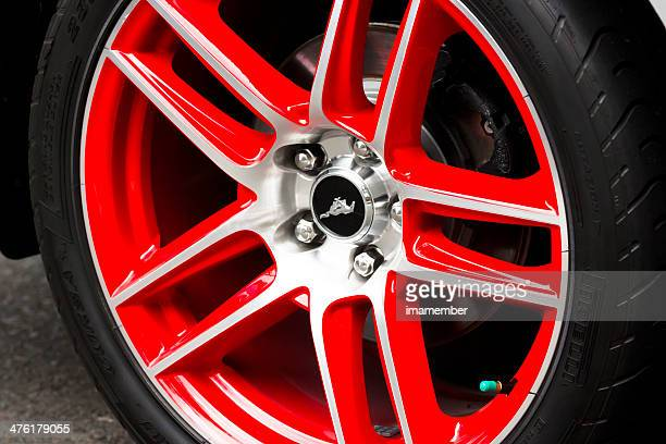 Ford Mustang red alloy wheel