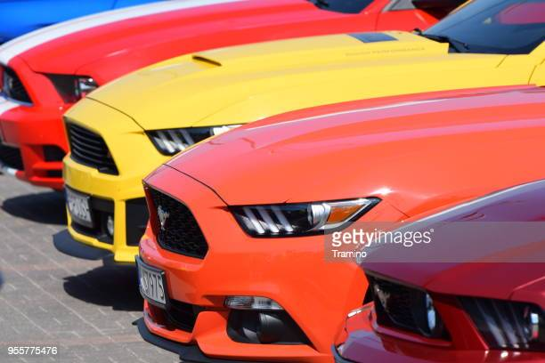 Ford Mustang vehicles in a row