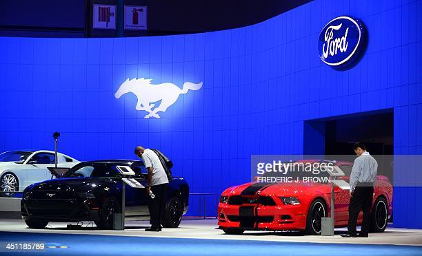Ford Mustangs including the Shelby GT500 are displayed on November 21 2013 at the LA Auto Show in Los Angeles California which opens to the public...
