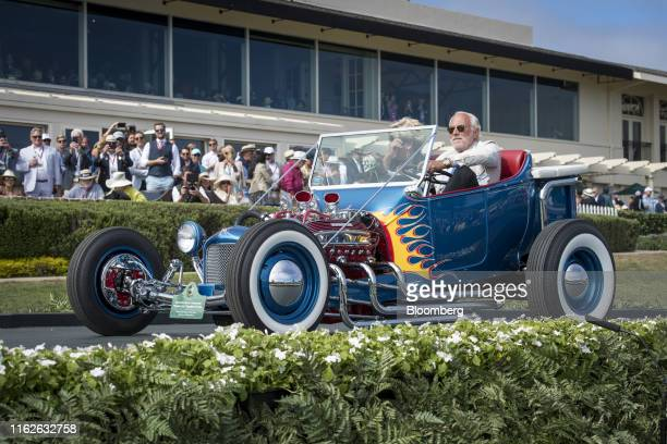 "Ford Norm Grabowski ""Kookie Kar"" Roadster Pickup is driven onto the winners ramp at the 2019 Pebble Beach Concours d'Elegance in Pebble Beach,..."