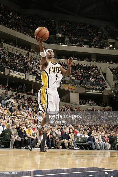 J Ford of the Indiana Pacers takes the ball to the basket against the Chicago Bulls during the game at Conseco Fieldhouse on February 22 2009 in...