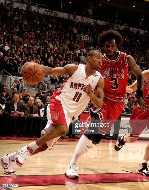 J Ford of the Toronto Raptors drives against Ben Wallace of the Chicago Bulls on April 8 2007 at the Air Canada Centre in Toronto Canada NOTE TO USER...
