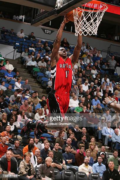 J Ford of the Toronto Raptors dunks the ball against the Minnesota Timberwolves at the Target Center April 9 2007 in Minneapolis Minnesota NOTE TO...