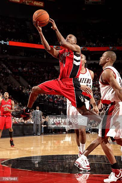Ford of the Toronto Raptors shoots against the Portland Trail Blazers on December 22, 2006 at the Rose Garden Arena in Portland, Oregon. The Raptors...