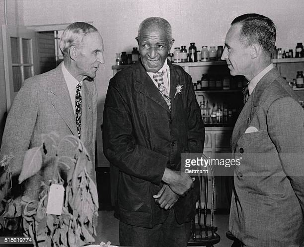 Ford Opens Food Laboratory Dearborn Michigan Henry Ford and son Edsel greet Dr George Washington Carver noted Negro scientist from Tuskegee Institute...