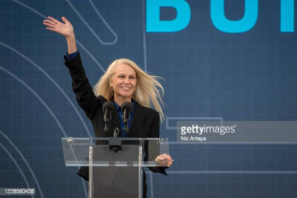 Ford Plant Manager Debbie Manzano speaks at the Ford Built for America event at Fords Dearborn Truck Plant on September 17, 2020 in Dearborn,...