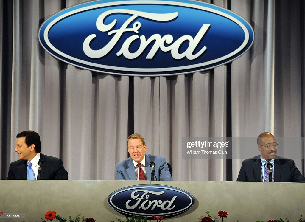 Ford President and CEO Mark Fields, Executive Chairman William Clay Ford, Jr. and Corporate Secretary and Assistant General Counsel Bradley M. Gayton attend the Ford 60th Annual Meeting of Shareholders at the Hotel DuPont on May 14, 2015 in Wilmington, Delaware. Ford Motor Company recently recalled thousands of the new 2015 Ford F-150 for steering shaft issues.