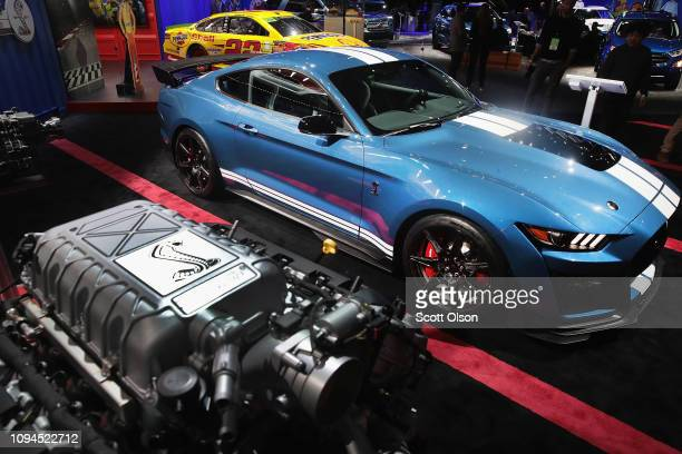 Ford shows off their new 700 horsepower 2020 Mustang Shelby GT 500 at the North American International Auto Show at the Cobo Center on January 15...