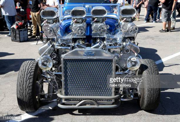 Ford street rod with two engines is displayed during the Viva Las Vegas Rockabilly Weekend's car show at the Orleans Arena on April 20 2019 in Las...