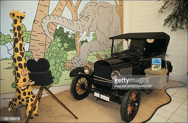 Ford T of 'Tintin in Congo' at Car and Comic Books exhibition during July 1991 in Paris France
