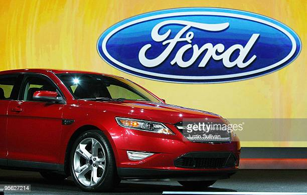 Ford Taurus is displayed before the start of the keynote address by Ford President and CEO Alan Mulally at the 2010 International Consumer...