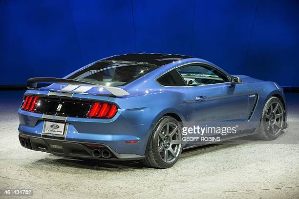 Ford unveils the new GT350 during a press conference at the 2015 North American International Auto Show in Detroit Michigan January 12 2015 AFP...
