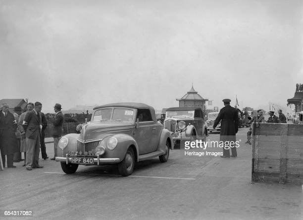 Ford V8 drophead of DB Hall at the RAC Rally Madeira Drive Brighton 1939 Artist Bill Brunell Ford V8 Drophead 1939 Reg No HPF840 Entry No 215 Driver...