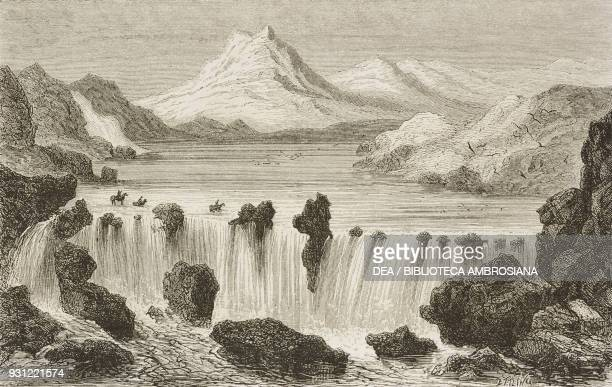 Fording the Bruaura drawing by Jules Noel from the author's album from Travels in the Icelandic interior by Natale Nogaret from Il Giro del mondo...