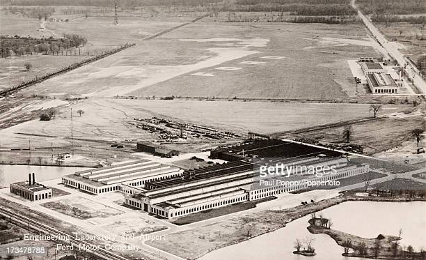 Ford's Dearborn engineering laboratory and airport in Dearborn Michigan circa 1940 In the foreground is the Ford engineering laboratory where all the...