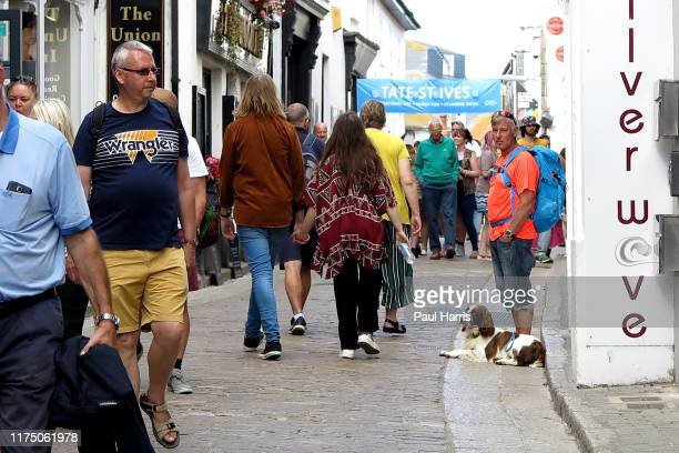 Fore Street St Ives during the 2019 September Summer Festival St Ives has become renowned for its number of artists It is the home of Tate St Ives an...