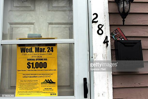 A foreclosed home is advertised for bidding on March 12 2010 in Bridgeport Connecticut A new report by RealtyTrac Inc announced that the number of...