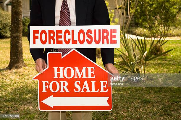 Foreclosure Real Estate Signs. Home for sale. Realtor.