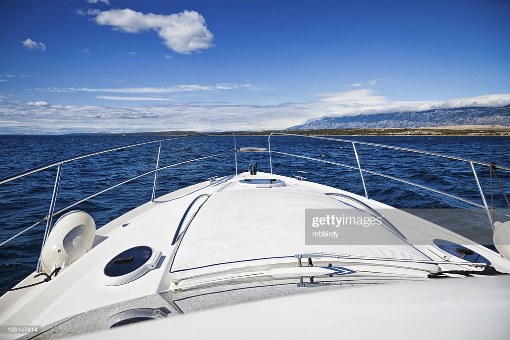 Foredeck of modern yacht : Stock Photo
