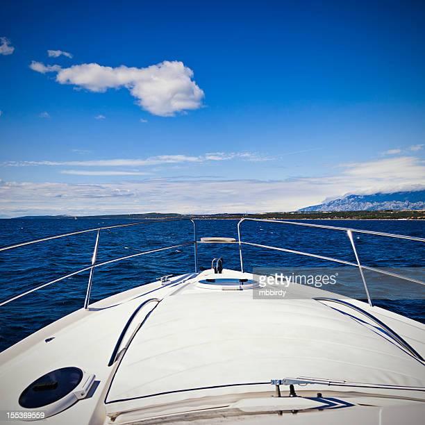 Foredeck of modern yacht