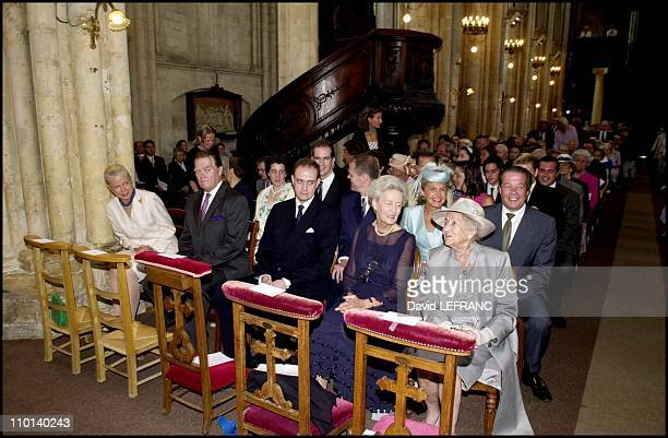 Foreground from left to right : Gersende de Sabran Ponteves, her husband Prince Jacques, Prince Jean, his mother Marie Therese of Wurtemberg and...
