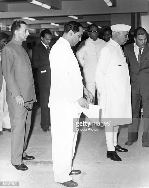 Indian aviator and industrialist J R D Tata Indian nuclear physicist Homi J Bhabha and Indian statesman Pandit Jawaharlal Nehru India 1940's