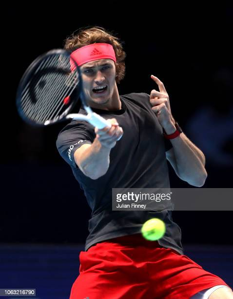 LONDON ENGLAND forehand during the singles final against Novak Djokovic of Serbia during Day Eight of the Nitto ATP Finals at The O2 Arena on...
