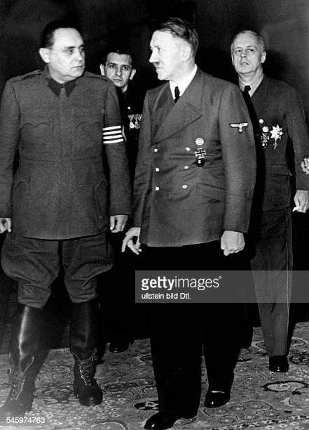 Foreign Affairs 1944 Adolf Hitler in conversation with Hungarian head of state Ferenc Szalasi at Reichskanzlei in Berlin Reichsaussenminister Joachim...