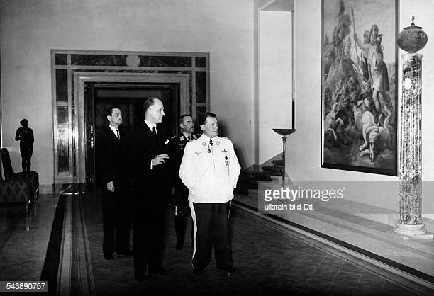 Foreign Affairs American undersecretary of state Sumner Welles with Field Marshal General Hermann Goering in Carinhall 1940 Photographer...