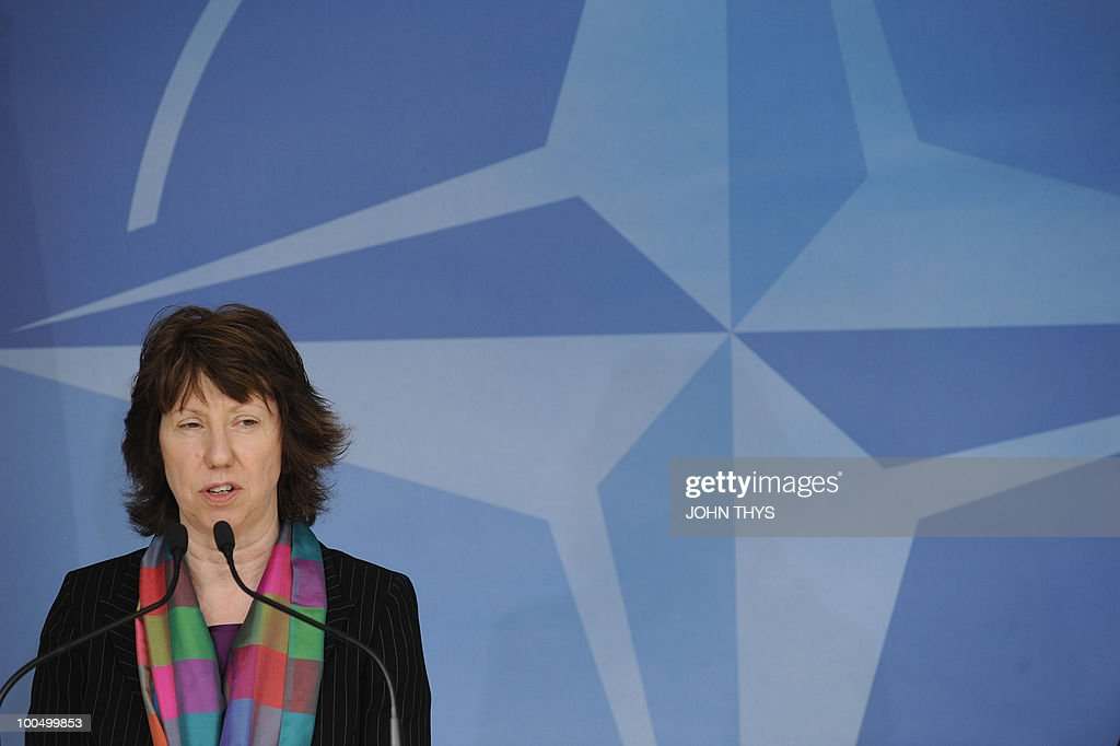 EU foreign affairs chief Catherine Ashton (L) gives a press conference on May 25, 2010 with North Atlantic Treaty Organization (NATO) Secretary-General Anders Fogh Rasmussen (not pictured) after their bilateral meeting at NATO headquarters in Brussels.