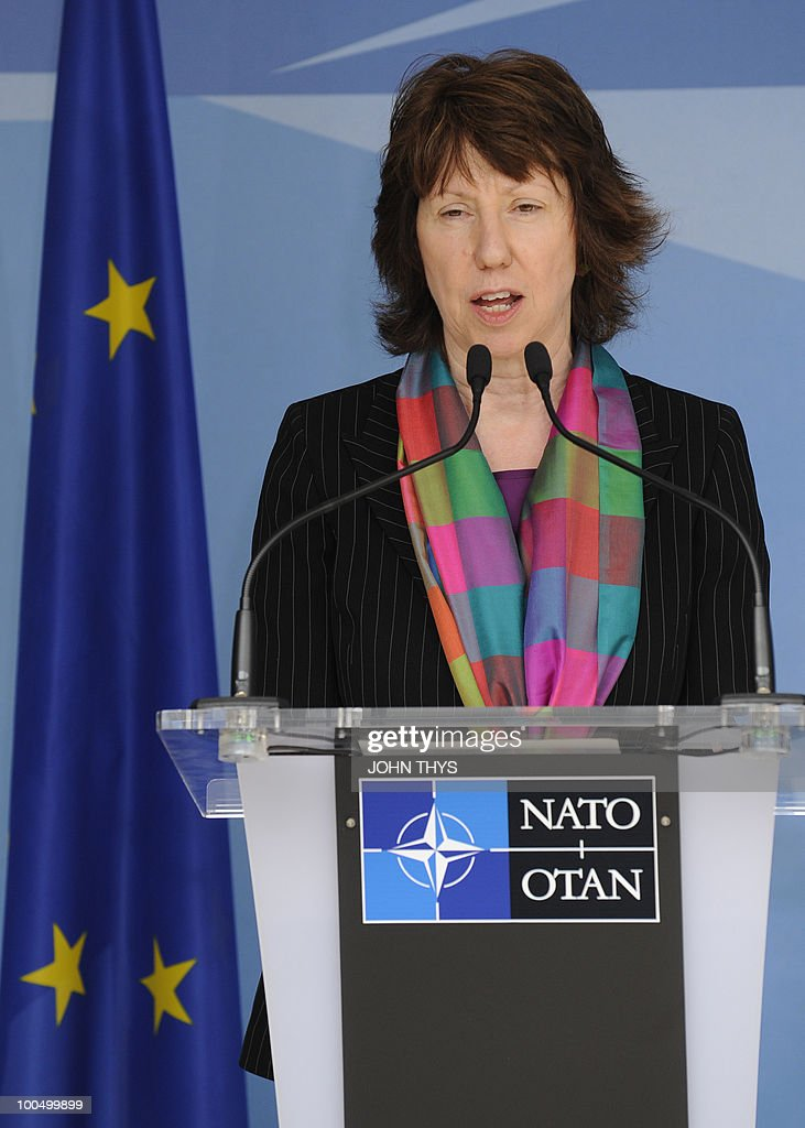 EU foreign affairs chief Catherine Ashton gives a press conference with North Atlantic Treaty Organization (NATO) Secretary-General Anders Fogh Rasmussen (not pictured) on May 25, 2010 after their bilateral meeting at NATO headquarters in Brussels.