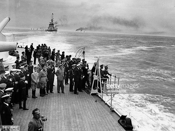 Foreign Affairs Hitler in Italy Adolf Hitler and King Viktor Emanuel III during event on board of the war ship 'Conte Cavour' in the background left...