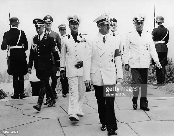 Foreign Affairs Italien Foreign Minister Galeazzo Count Ciano as guest of Adolf Hitler in Fuschl right Reichsaussenminister Joachim von Ribbentrop...