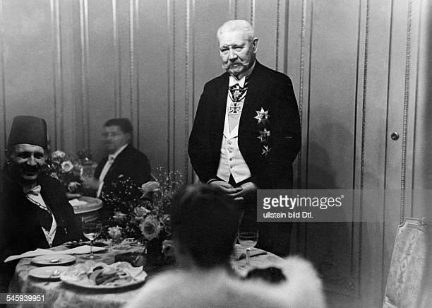 Foreign Affairs King Fuad I of Egypt and 'Reichspraesident' Paul von Hindenburg during a galadiner Juny 1929 Published by 'Berliner Illustrirte...