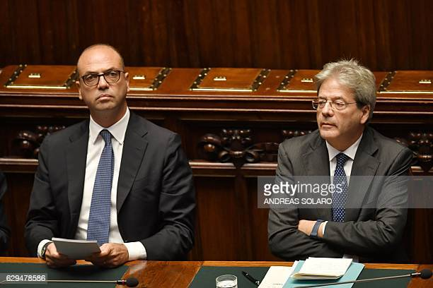 Foreign Affairs Minister Angelino Alfano and Italy's Prime Minister Paolo Gentiloni are pictured before a confidence vote to the new government on...