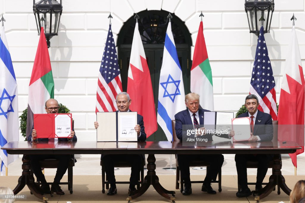President Trump Hosts Abraham Accords Signing Ceremony On White House South Lawn : News Photo